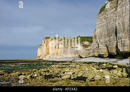 low tide near Etretat, Seine Maritime department, Normandy region, France, Europe. - Stock Photo