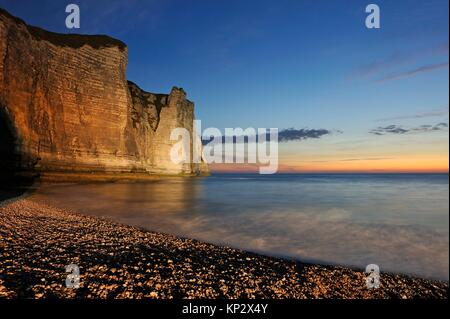 floodlit cliff, Etretat, Seine-Maritime department, Normandie region, France, Europe. - Stock Photo