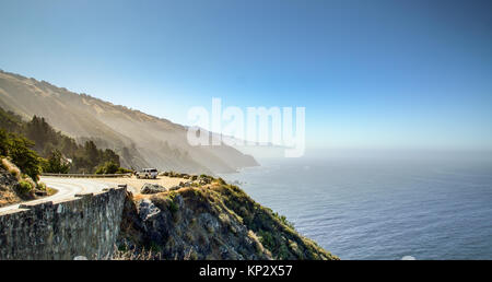 Landscape view Highway A1 on the Pacific Ocean - Stock Photo
