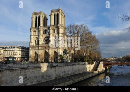 Notre-Dame Cathedral and Seine River, Paris, France, Europe. Stock Photo