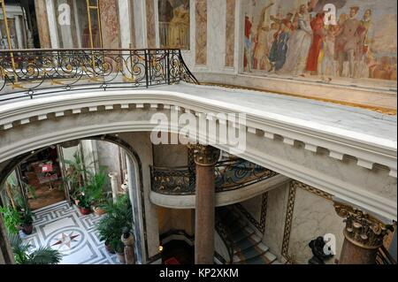 the Winter Garden et the Staircase of the Jacquemart-Andre Museum, property of the Institut de France, 8th arrondissement, - Stock Photo