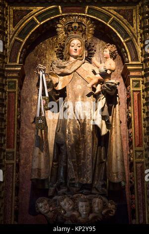 Statue of the Virgin Mary with Jesus, Convento de Santa Teresa, Avila, UNESCO World Heritage Site, Spain - Stock Photo