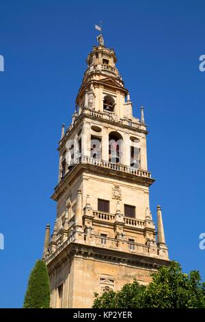 Bell tower, Great Mosque and Cathedral of Cordoba, UNESCO World Heritage Site, Cordoba, Spain - Stock Photo