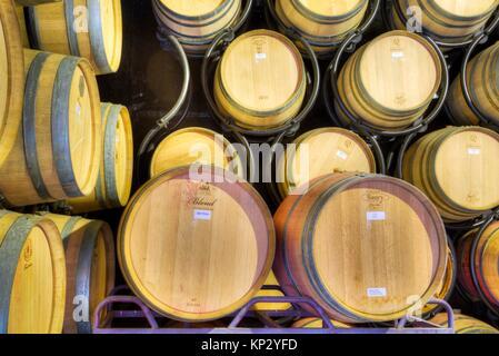 Wine Storage Barrels, Quinta do Crasto, Alto Douro Wine Valley, UNESCO World Hertiage Region, Portugal - Stock Photo
