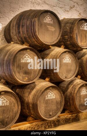 Port Wine Storage Barrels, Quinta Do Bomfin, Alto Douro Wine Valley, UNESCO World Hertiage Region, Portugal - Stock Photo