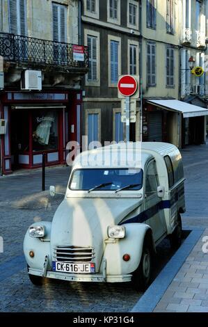 parked Citroen 2CV van, Condom, Gers Department, New Aquitaine, France. - Stock Photo
