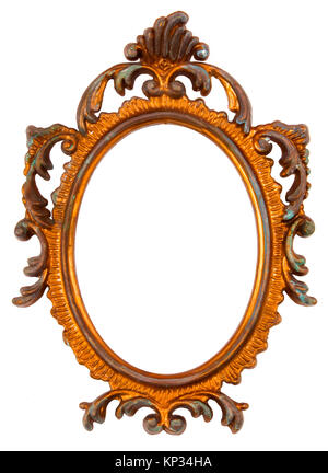 Old Ovall Picture Frame on white background - Stock Photo