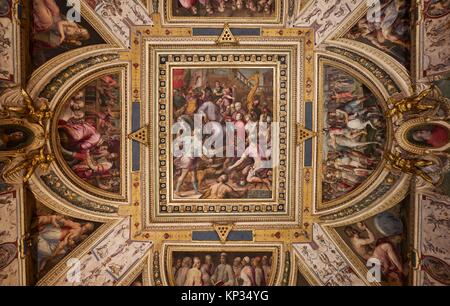 Decorated ceiling inside Palazzo Vecchio (Old Palace), by Giorgio Vasari, Florence, Italy - Stock Photo