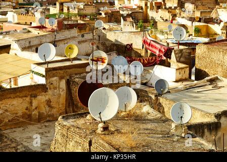 Satellite dishes on the roofs of the houses in Fez old city, Morocco - Stock Photo