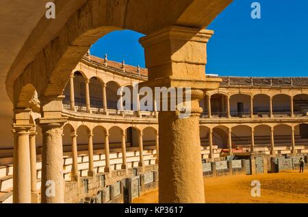 The bullring and Real Maestranza De Caballería De Ronda, Plaza de toros, Ronda, White Towns, Malaga province, Andalusia, - Stock Photo