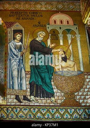 Medieval Byzantine style mosaics of St Paul being bapitised in the Palatine Chapel, Cappella Palatina, Palermo, - Stock Photo