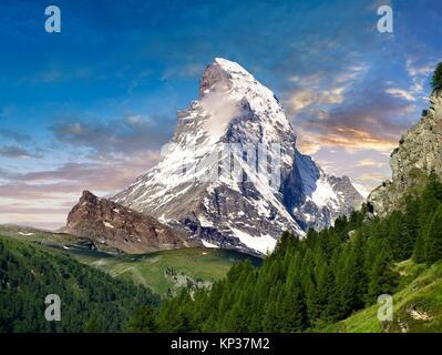 The Matterhorn or Monte Cervino mountain peak, Zermatt, Switzerland. - Stock Photo