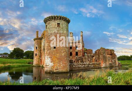 Exterior of Caerlaverock Castle, Dumfries Galloway, Scotland, - Stock Photo