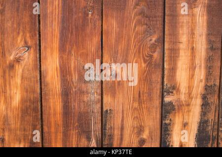 Close-up detail of grainy wooden fence planks - Stock Photo