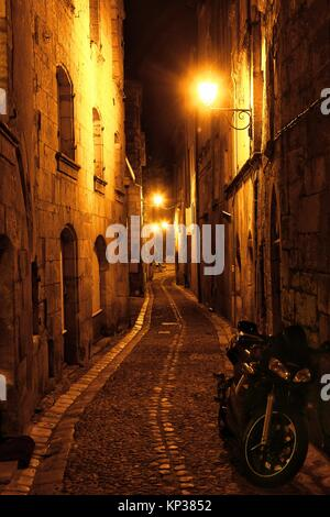 Rue du Port de Graule - narrow charming street at night, old town of Périgueux, World Heritage Sites of the Routes - Stock Photo