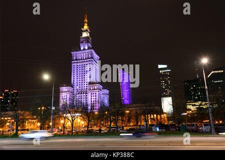 Palace of Culture and Science - gift from Soviet people to Polish nation, given in 1955, designed by Soviet architect - Stock Photo