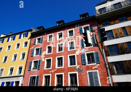 Facades of apartment buildings along Rue de Montbrillant in the city center of Geneva, Switzerland, Europe - Stock Photo
