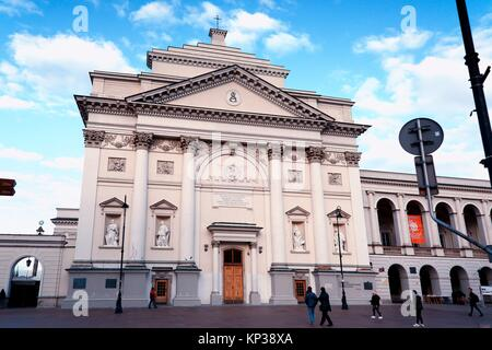 St. Anne's church along the Royal Tract - Krakowskie Przedmiescie, adjacent to the Castle Square, Kosciol Sw Anny, - Stock Photo