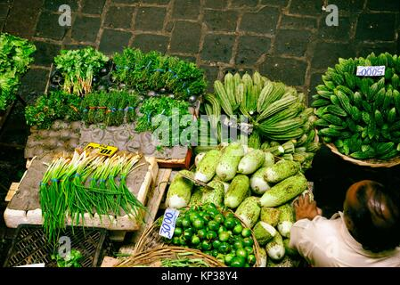food market in Port Louis capital of Mauritius, Africa - Stock Photo