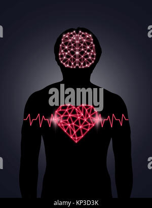 Silhouette of human body with technology line and dot of polygonal shape brain and heart, Science healthy education - Stock Photo
