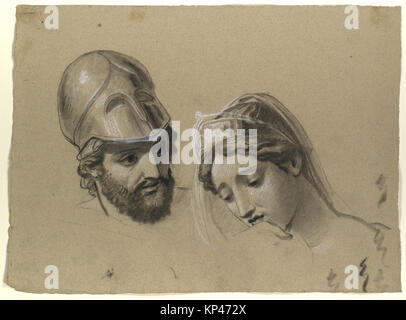Heads Studies for 'Castor and Pollux Freeing Helen' MET DP119731 368418 - Stock Photo