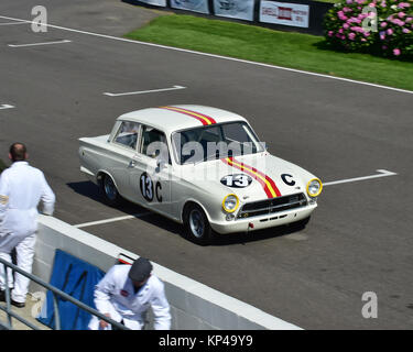 Shaun Lynn, Dave Richards, Ford Lotus Cortina Mk1, St Mary's trophy, Goodwood Revival 2015,  60's, 1960's, 2015, - Stock Photo