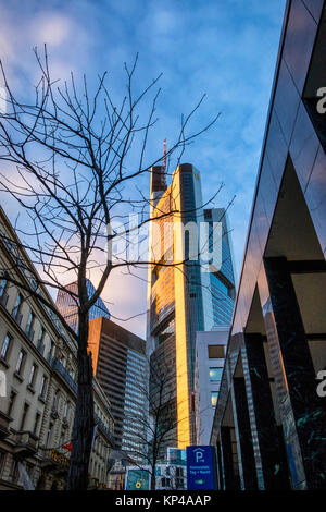 Frankfurt, Germany. Commerzbank Tower modern steel and glass high-rise building at 260 metres is highest office - Stock Photo