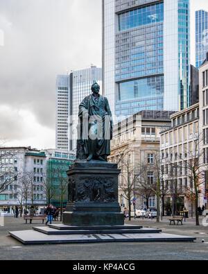 Frankfurt,Germany,Goetheplatz. Goethe monument, Bronze sculpture of German writer by sculptor Ludwig Schwanthaler - Stock Photo