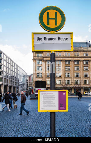 Frankfurt,Germany.Die Grauen Busse information board. The monument of the grey Busses memorial commemorates the - Stock Photo