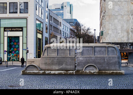 Frankfurt,Germany.The monument of the grey Busses memorial commemorates the murder of handicapped & ill people by - Stock Photo
