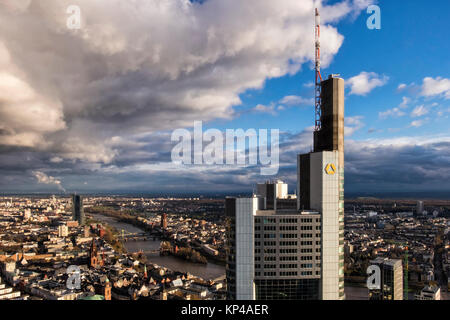 Frankfurt,Germany.Aerial view from Helaba Main Tower.Commerzbank high-rise building,Main river and historic old - Stock Photo