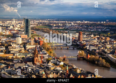 Frankfurt,Germany.Aerial view from Helaba Main Tower.Historic old town churches, buildings,bridges over River Main - Stock Photo