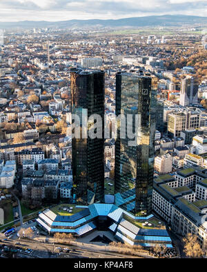 Frankfurt,Germany.Aerial view of two Deutsche Bank towers from Helaba Main Tower.City centre office buildings.Banking - Stock Photo