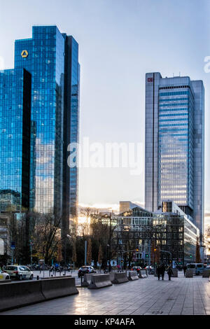 Frankfurt,Germany Commerz Bank Tower & Deutsche Bahn Silver tower.Modern high-rise skyscraper buildings in Business, - Stock Photo