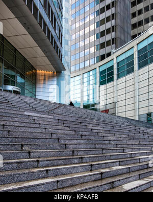 Frankfurt, Germany. Commerzbank Tower building detail,entrance,steps,exterior,facade.Bank building in city centre. - Stock Photo