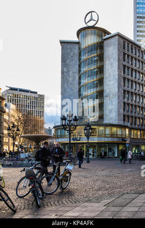 Kaiserplatz,Frankfurt,Germany. Mercedes Benz dealership and show room with logo in city centre - Stock Photo