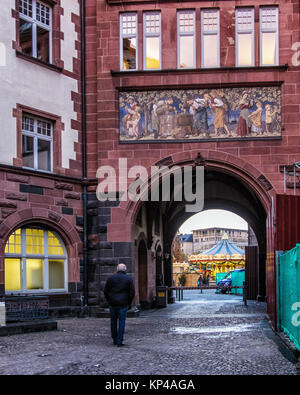 Frankfurt,Germany.View of historic old medieval style buildings. Part of the official City hall offices.Inner courtyard,artwork - Stock Photo