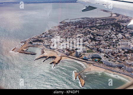 Aerial view on Monastir. Tunisia. View from landing plane. Holiday in Tunisian. - Stock Photo