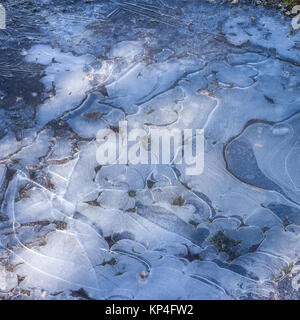 Ice patterns in a frozen puddle of water - Stock Photo
