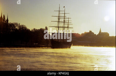 AF CHAPMAN hostels in Stockholm in winterlight and seascape 2009 former training ship for Swedish navy built 1888 - Stock Photo
