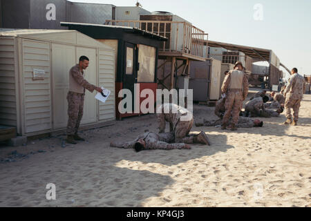 U.S Navy Corpsmen with Special Purpose Marine Air-Ground Task Force – Crisis Response – Central Command, evaluate - Stock Photo