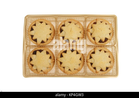 Star decorated mince pies in a gold colored plastic tray isolated against white - Stock Photo