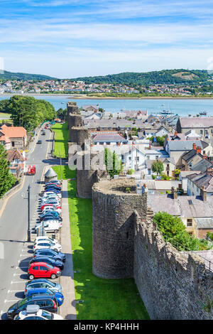 North wales conway north wales conwy north wales view of Conwy town and river Conwy estuary from the castle walls - Stock Photo