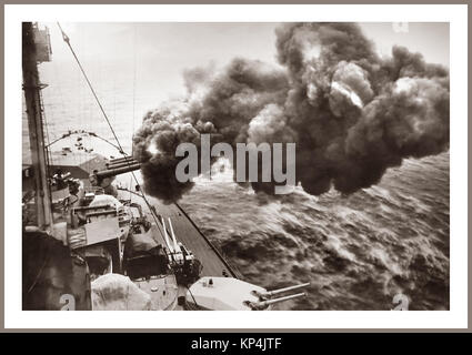 Vintage World War 2 1940's WW2 image of German (Bismark-class) battleship 'Tirpitz' firing her 380 mm main guns, - Stock Photo