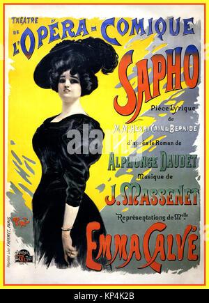 Vintage 1890's Poster for the Theatre de l'Opera-Comique promoting a   comic opera with Emma Calvé by Arthur Bernide - Stock Photo