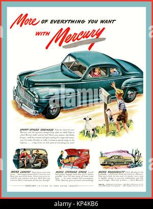 1940's American Car Vintage American 1946 Mercury Eight Coupe car automobile - Stock Photo