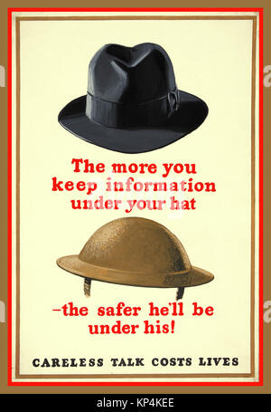 1940's WW2 British UK Propaganda poster Anti-rumour and careless talk 'The more you keep information under your - Stock Photo