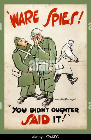 1940's WW2 UK British propaganda poster featuring British Army Tommies soldiers discussing anti-rumour and careless - Stock Photo