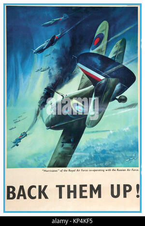 1940's British UK propaganda poster 'BACK THEM UP' R.A.F. Hawker Hurricanes along  and co-operating with Soviet - Stock Photo