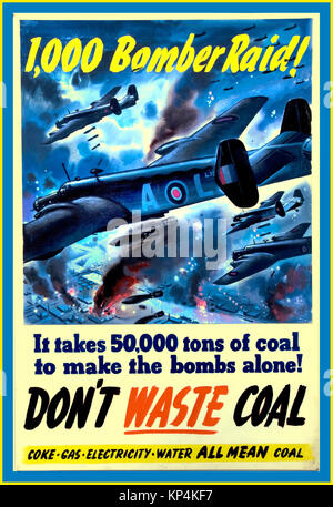 "WW2 Vintage UK propaganda poster 1940's British government alert during World War 2  ""1000 Bomber Raid-DONT WASTE - Stock Photo"